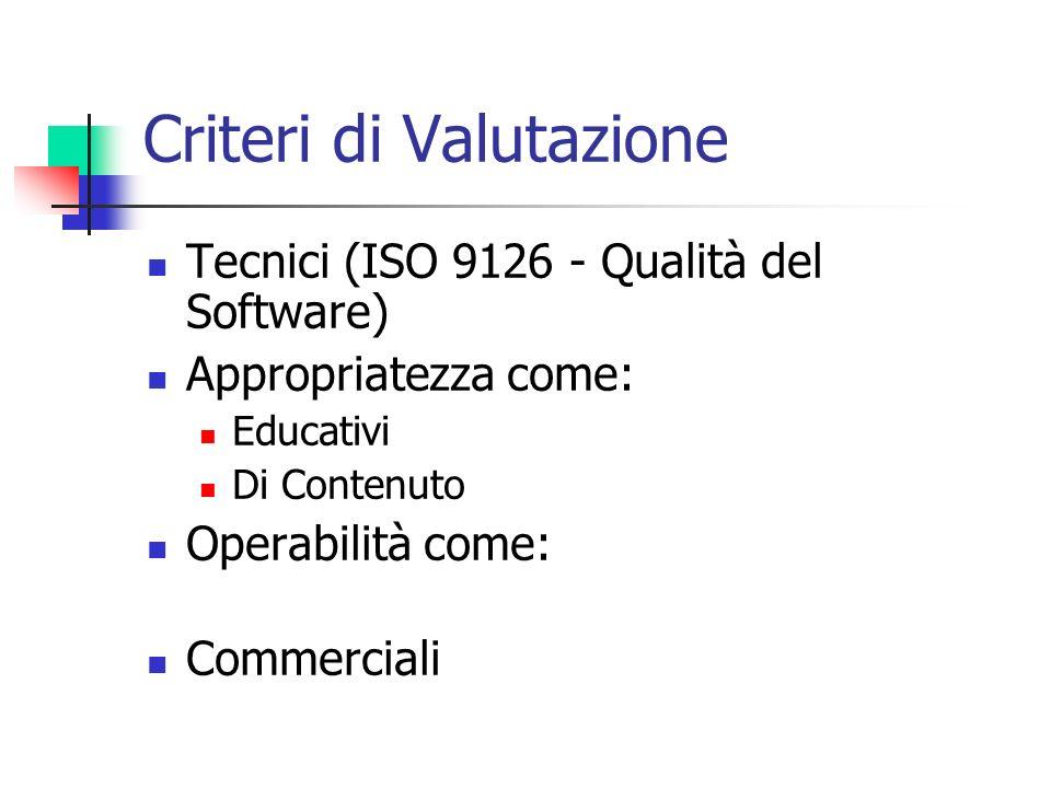 Criteri di Valutazione Tecnici (ISO 9126 - Qualità del Software) Appropriatezza come: Educativi Di Contenuto Operabilità come: Commerciali
