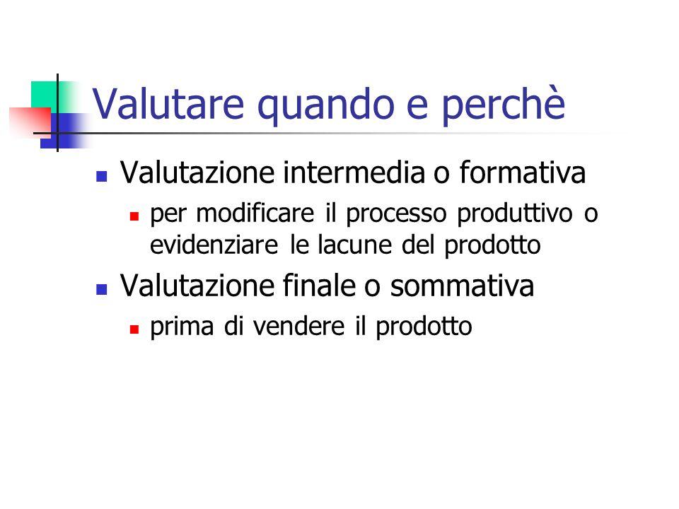 Valutare quando e perchè Valutazione intermedia o formativa per modificare il processo produttivo o evidenziare le lacune del prodotto Valutazione finale o sommativa prima di vendere il prodotto
