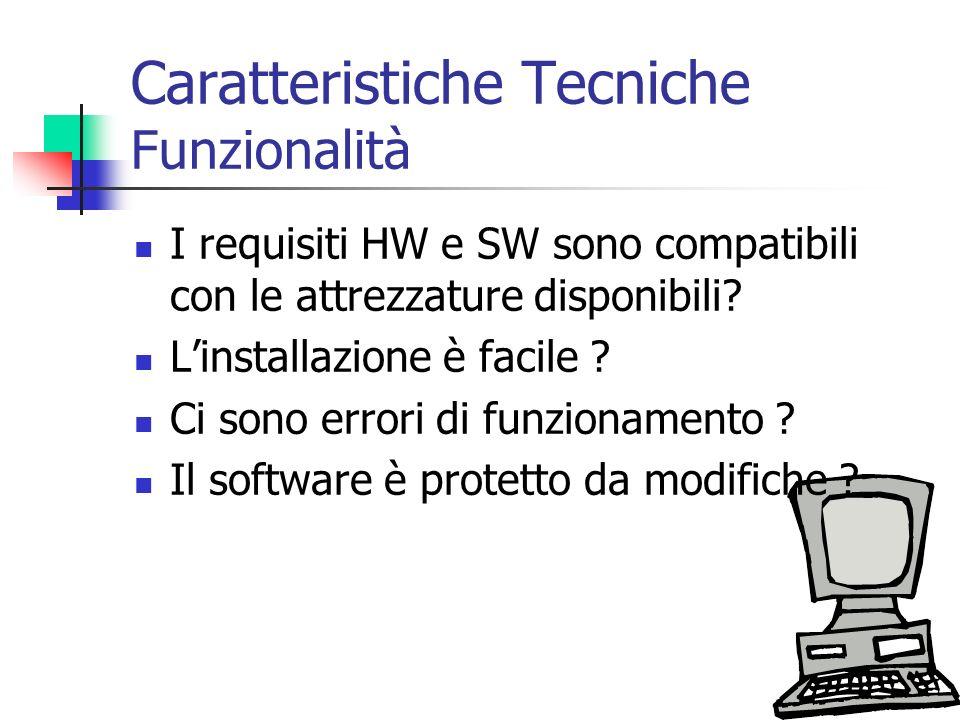 Caratteristiche Tecniche Funzionalità I requisiti HW e SW sono compatibili con le attrezzature disponibili? Linstallazione è facile ? Ci sono errori d