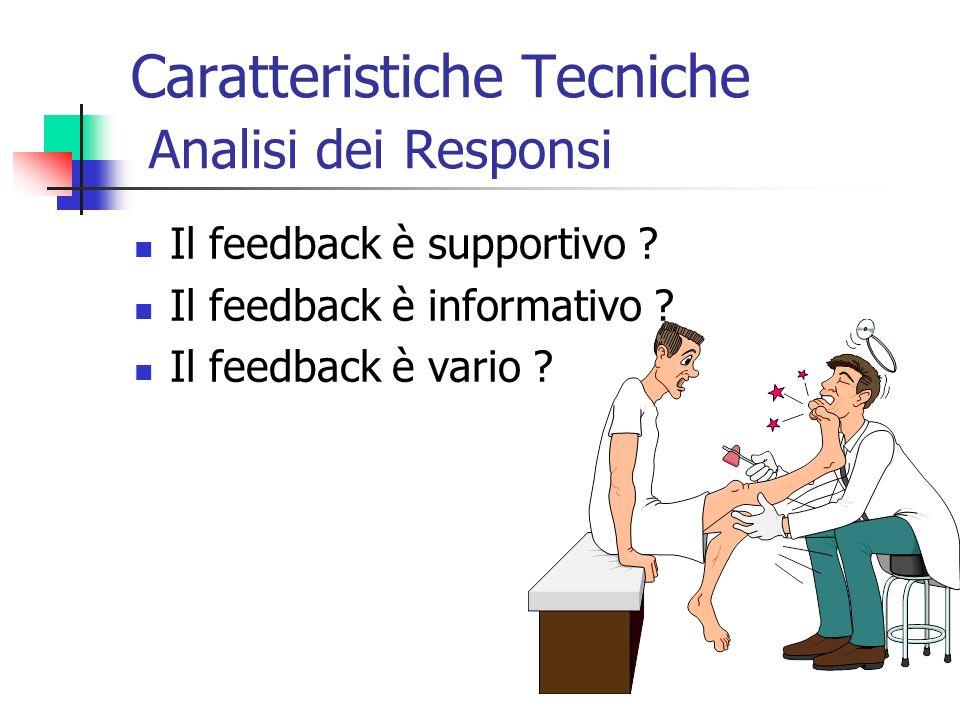Caratteristiche Tecniche Analisi dei Responsi Il feedback è supportivo ? Il feedback è informativo ? Il feedback è vario ?