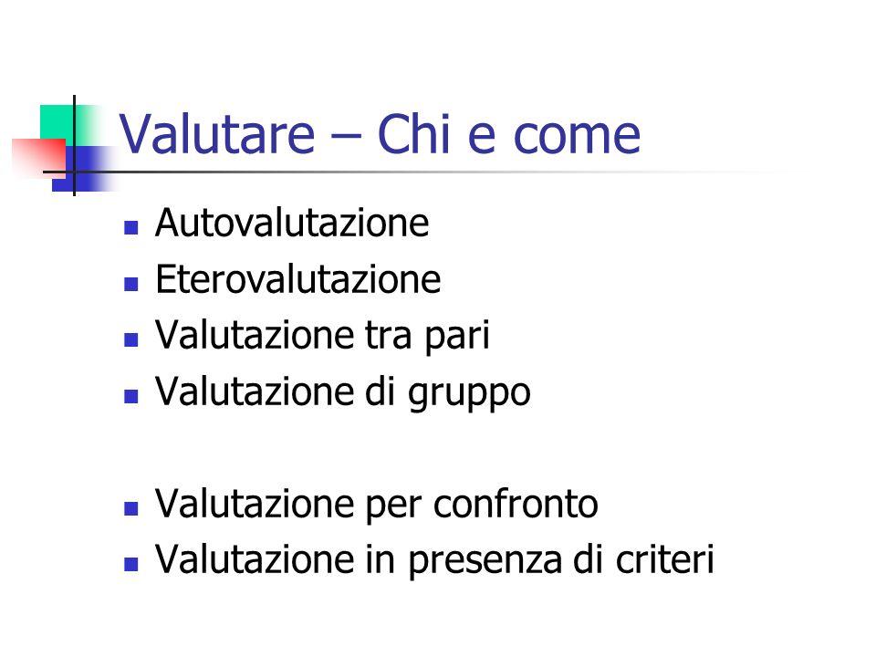 Valutare – Chi e come Autovalutazione Eterovalutazione Valutazione tra pari Valutazione di gruppo Valutazione per confronto Valutazione in presenza di criteri