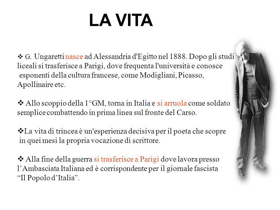 LA VITA G. Ungaretti nasce ad Alessandria d'Egitto nel 1888. Dopo gli studi liceali si trasferisce a Parigi, dove frequenta l'università e conosce esp