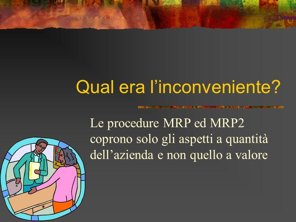 Qual era linconveniente? Le procedure MRP ed MRP2 coprono solo gli aspetti a quantità dellazienda e non quello a valore