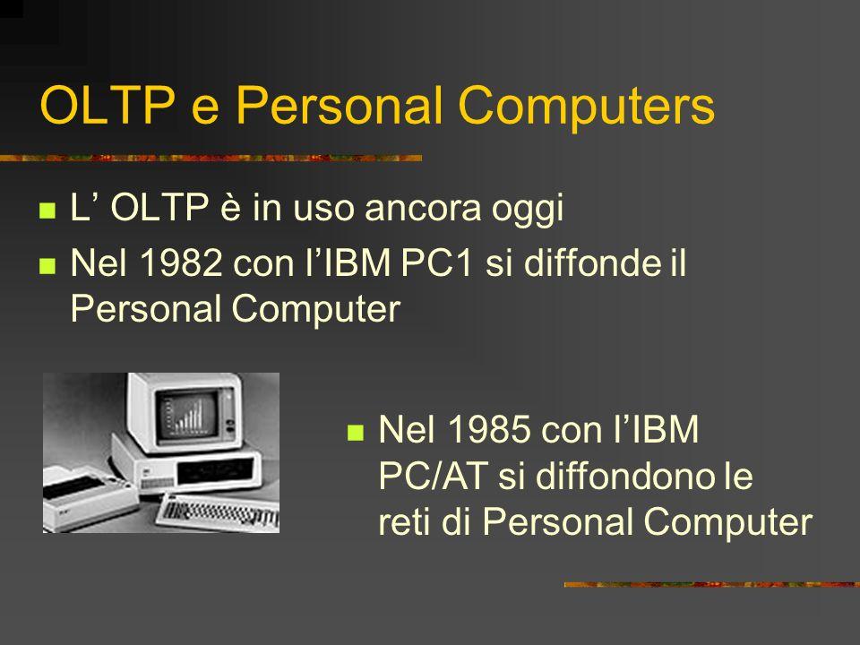 OLTP e Personal Computers L OLTP è in uso ancora oggi Nel 1982 con lIBM PC1 si diffonde il Personal Computer Nel 1985 con lIBM PC/AT si diffondono le