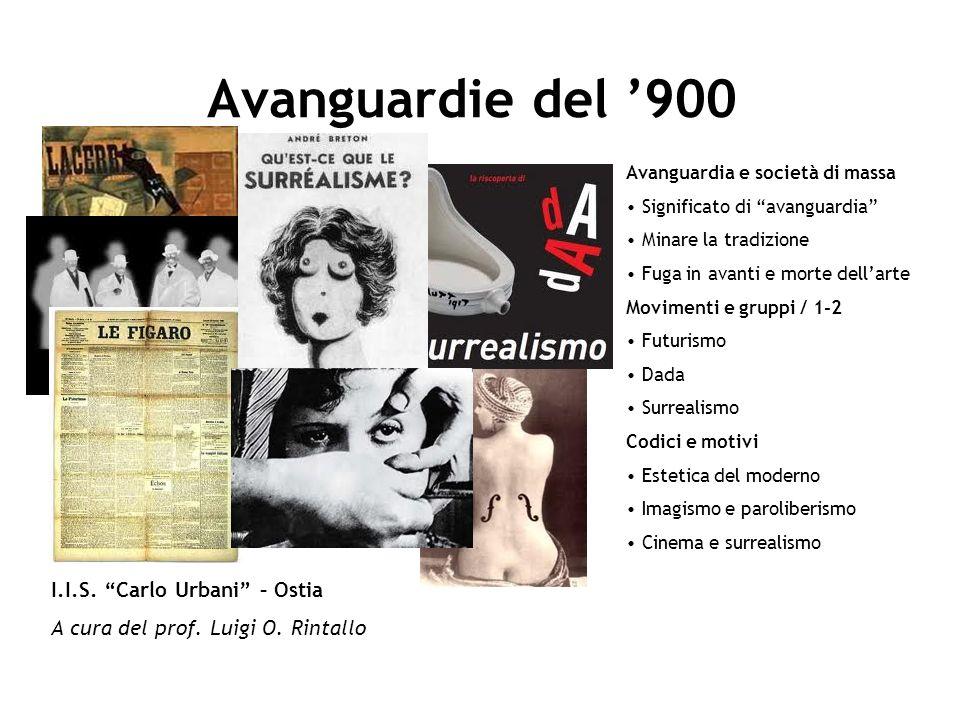 Avanguardie del 900 I.I.S. Carlo Urbani – Ostia A cura del prof. Luigi O. Rintallo Avanguardia e società di massa Significato di avanguardia Minare la