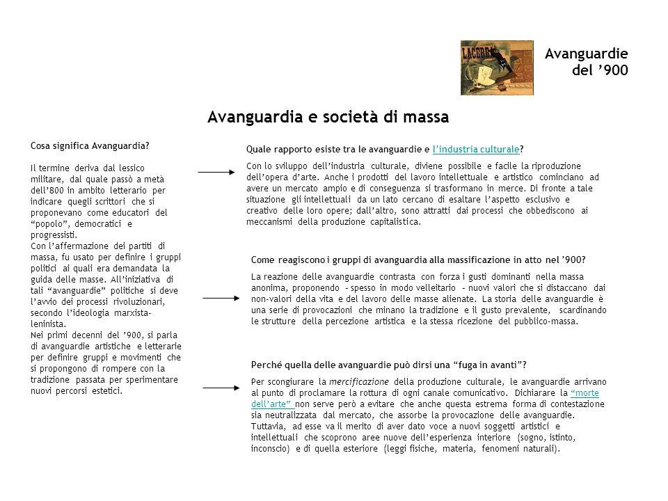 Avanguardie del 900 Avanguardia e società di massa Cosa significa Avanguardia? Il termine deriva dal lessico militare, dal quale passò a metà dell800