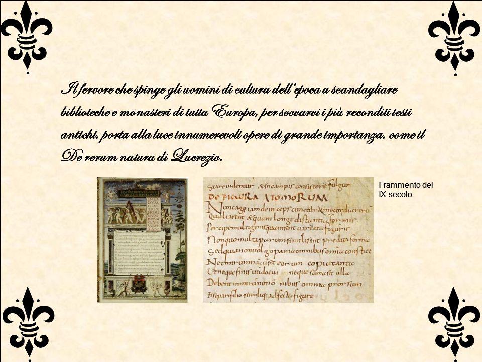 Il fervore che spinge gli uomini di cultura dellepoca a scandagliare biblioteche e monasteri di tutta Europa, per scovarvi i più reconditi testi antic