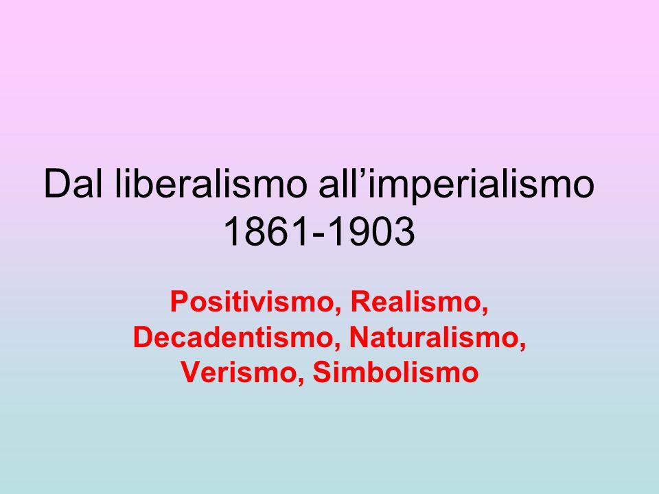 Dal liberalismo allimperialismo 1861-1903 Positivismo, Realismo, Decadentismo, Naturalismo, Verismo, Simbolismo