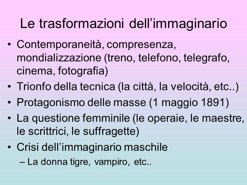 Le trasformazioni dellimmaginario Contemporaneità, compresenza, mondializzazione (treno, telefono, telegrafo, cinema, fotografia) Trionfo della tecnic