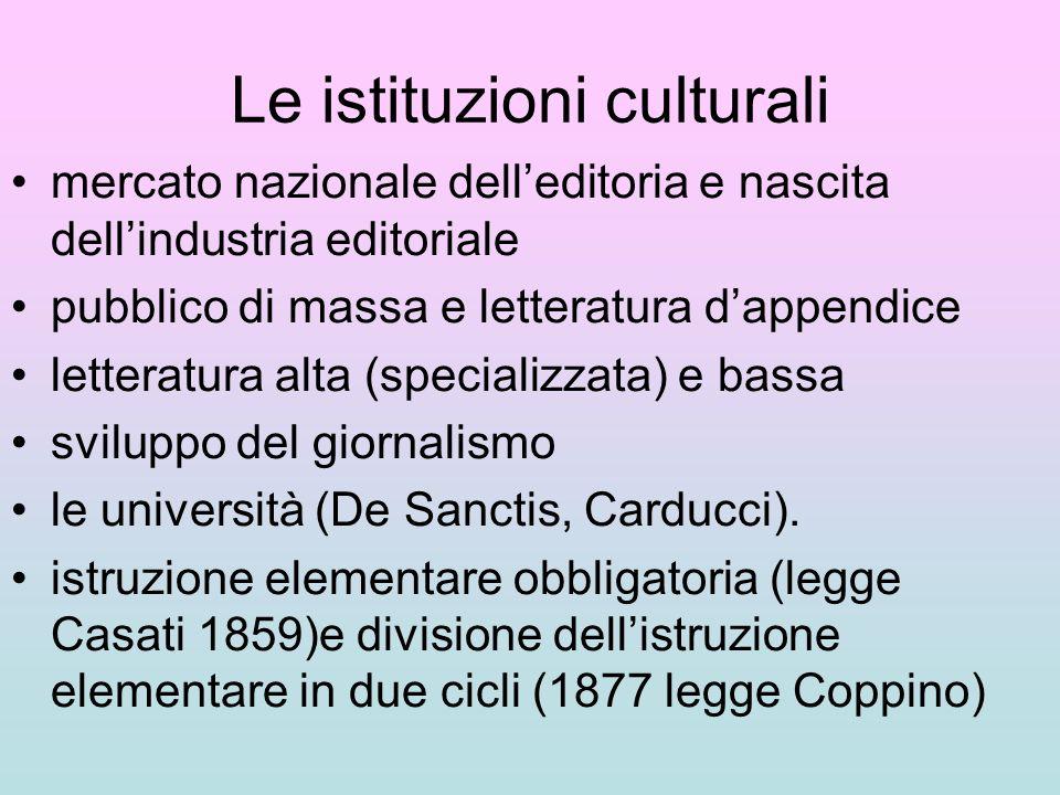 Le istituzioni culturali mercato nazionale delleditoria e nascita dellindustria editoriale pubblico di massa e letteratura dappendice letteratura alta