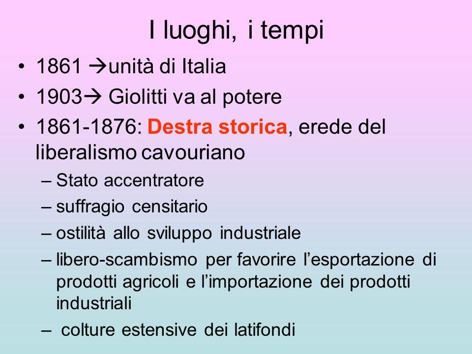 I luoghi, i tempi 1861 unità di Italia 1903 Giolitti va al potere 1861-1876: Destra storica, erede del liberalismo cavouriano –Stato accentratore –suf