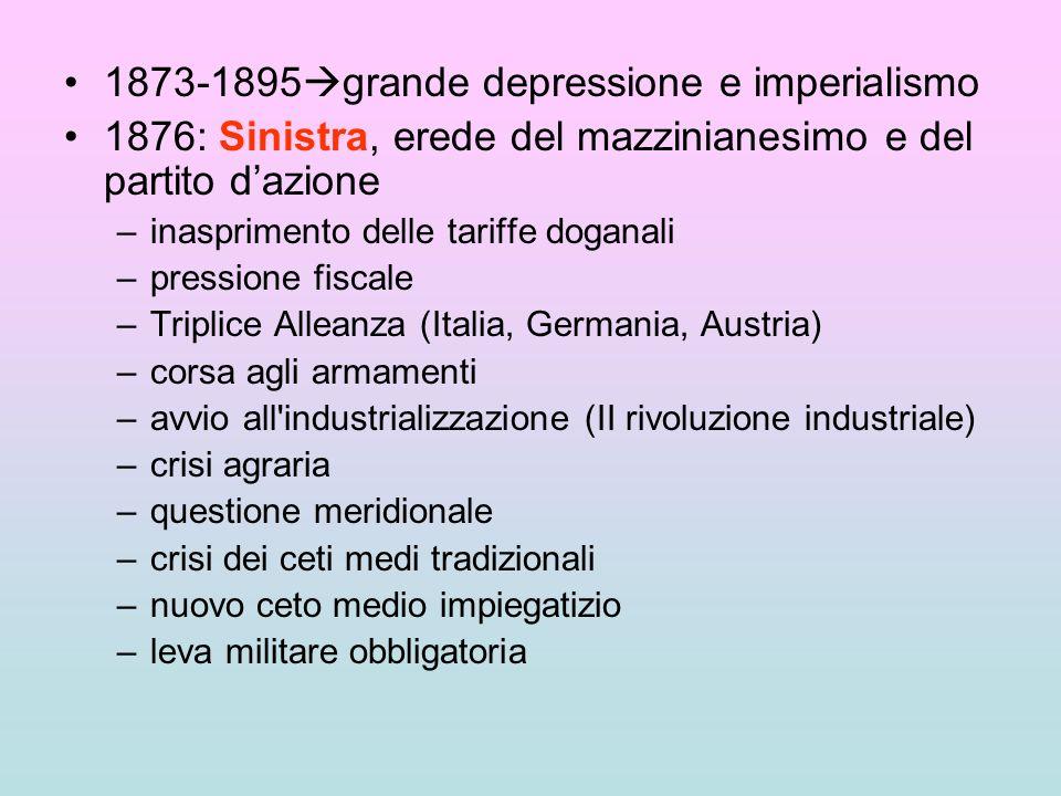 1873-1895 grande depressione e imperialismo 1876: Sinistra, erede del mazzinianesimo e del partito dazione –inasprimento delle tariffe doganali –press
