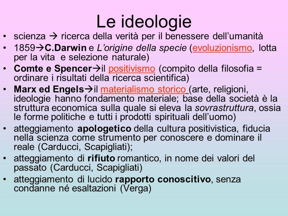 Le ideologie scienza ricerca della verità per il benessere dellumanità 1859 C.Darwin e Lorigine della specie (evoluzionismo, lotta per la vita e selez