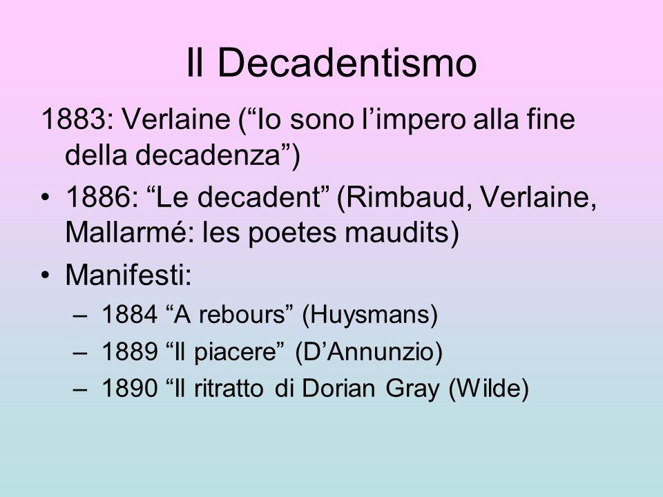 Il Decadentismo 1883: Verlaine (Io sono limpero alla fine della decadenza) 1886: Le decadent (Rimbaud, Verlaine, Mallarmé: les poetes maudits) Manifes