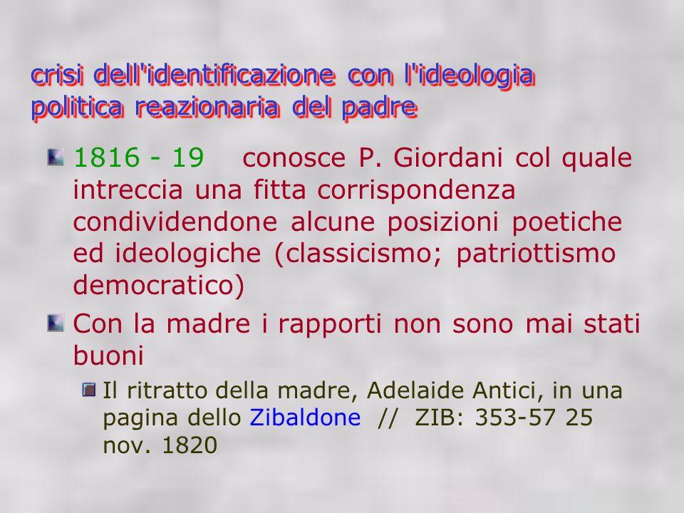 crisi dell identificazione con l ideologia politica reazionaria del padre 1816 - 19 conosce P.