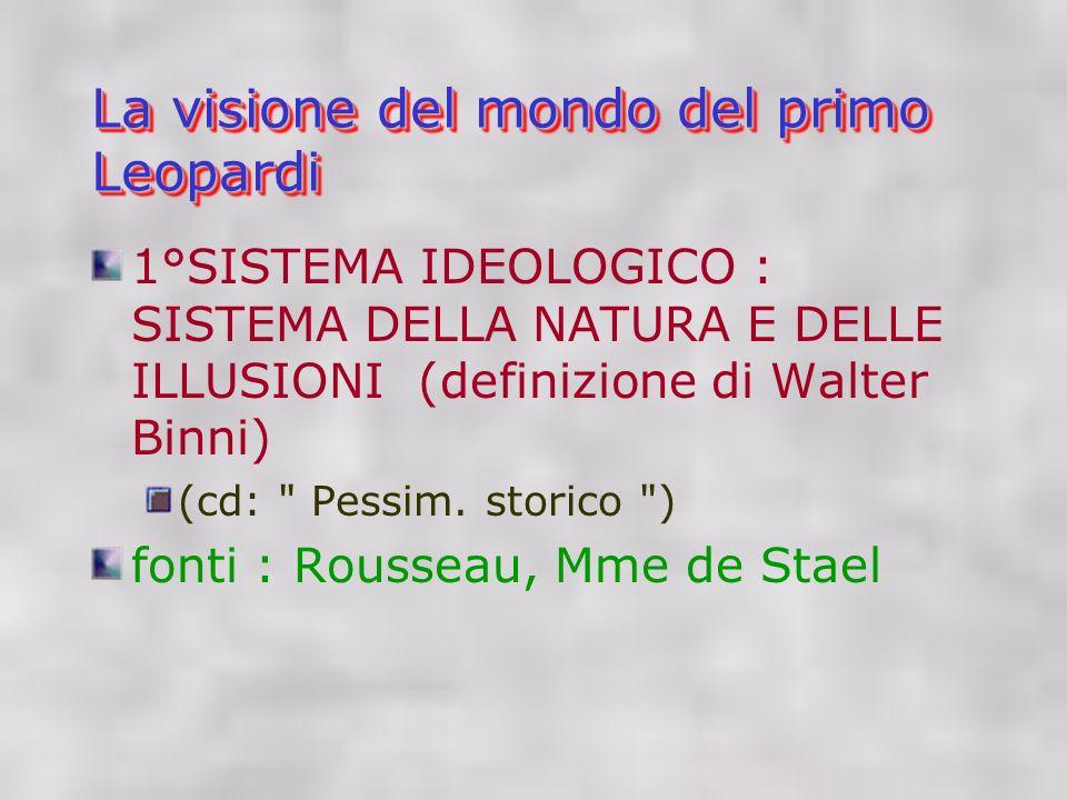 La visione del mondo del primo Leopardi 1°SISTEMA IDEOLOGICO : SISTEMA DELLA NATURA E DELLE ILLUSIONI (definizione di Walter Binni) (cd: Pessim.