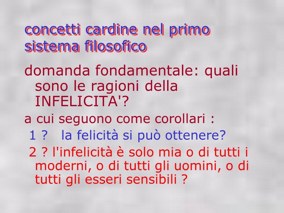 concetti cardine nel primo sistema filosofico domanda fondamentale: quali sono le ragioni della INFELICITA .