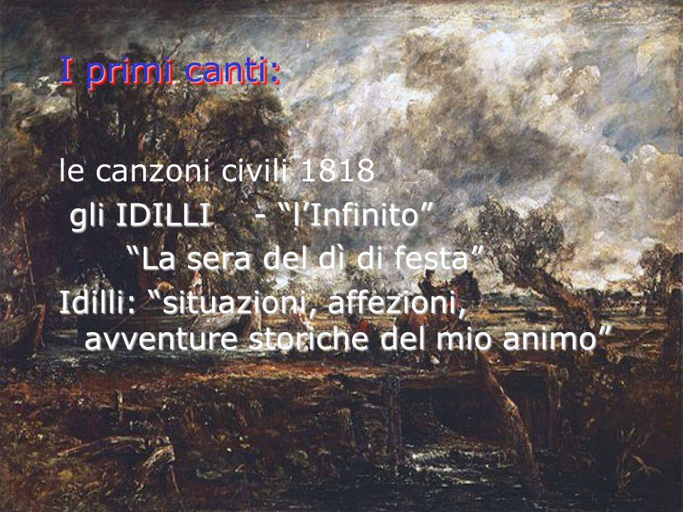 I primi canti: le canzoni civili 1818 gli IDILLI - lInfinito gli IDILLI - lInfinito La sera del dì di festa Idilli: situazioni, affezioni, avventure storiche del mio animo