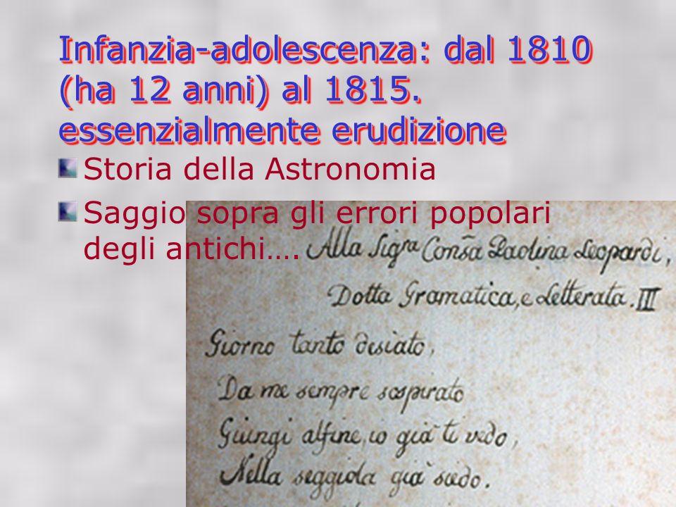 Infanzia-adolescenza: dal 1810 (ha 12 anni) al 1815.