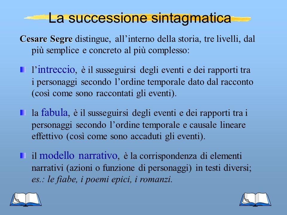 Cesare Segre Cesare Segre distingue, allinterno della storia, tre livelli, dal più semplice e concreto al più complesso: l intreccio, è il susseguirsi