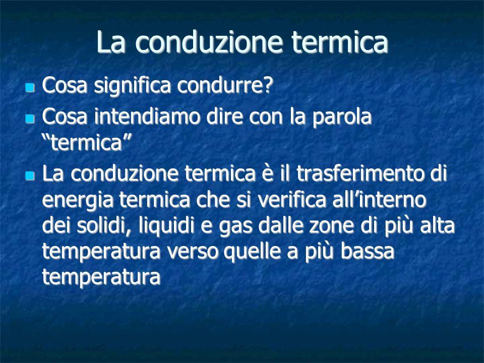 Cosa significa condurre? Cosa significa condurre? Cosa intendiamo dire con la parola termica Cosa intendiamo dire con la parola termica La conduzione