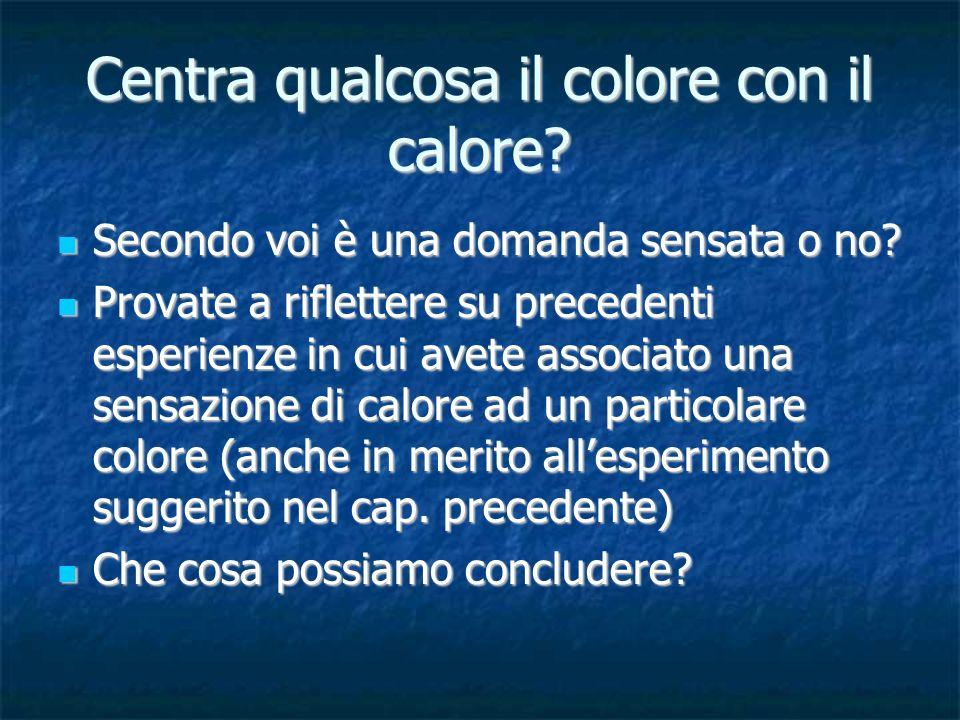 Centra qualcosa il colore con il calore? Secondo voi è una domanda sensata o no? Secondo voi è una domanda sensata o no? Provate a riflettere su prece