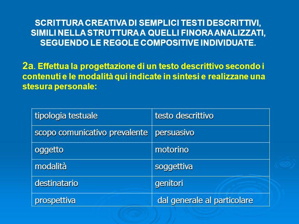 SCRITTURA CREATIVA DI SEMPLICI TESTI DESCRITTIVI, SIMILI NELLA STRUTTURA A QUELLI FINORA ANALIZZATI, SEGUENDO LE REGOLE COMPOSITIVE INDIVIDUATE. tipol