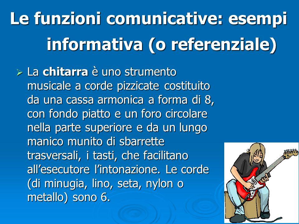 Le funzioni comunicative: esempi La chitarra è uno strumento musicale a corde pizzicate costituito da una cassa armonica a forma di 8, con fondo piatt