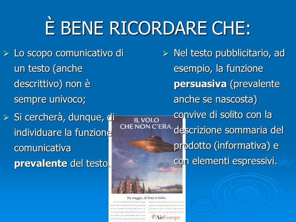 È BENE RICORDARE CHE: Lo scopo comunicativo di un testo (anche descrittivo) non è sempre univoco; Lo scopo comunicativo di un testo (anche descrittivo