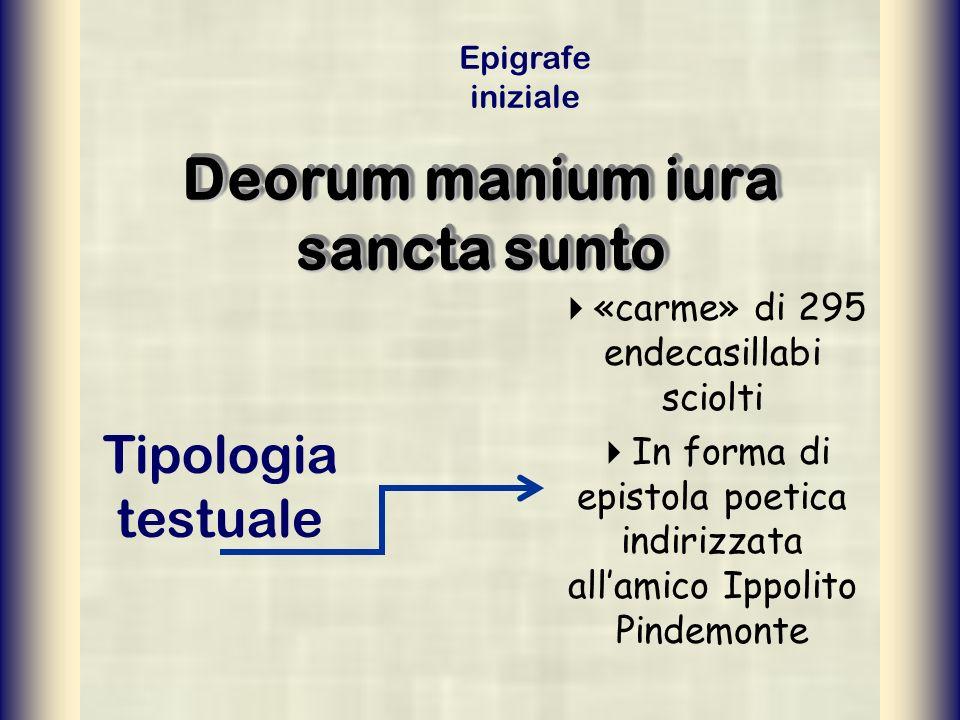 Deorum manium iura sancta sunto «carme» di 295 endecasillabi sciolti In forma di epistola poetica indirizzata allamico Ippolito Pindemonte Tipologia t