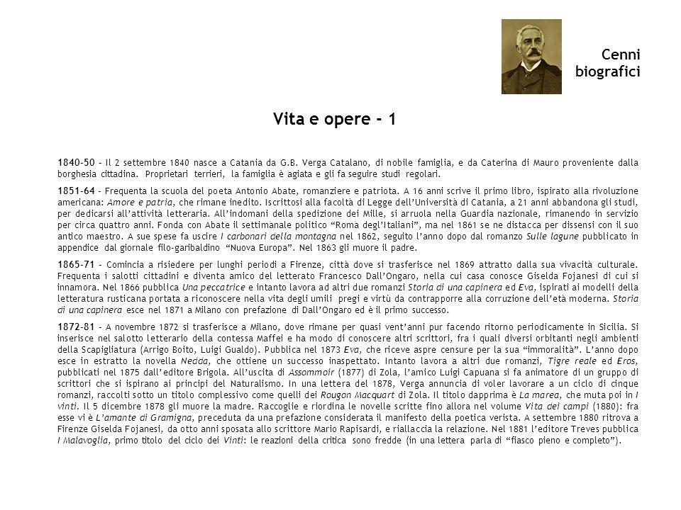 Cenni biografici Vita e opere - 1 1840-50 – Il 2 settembre 1840 nasce a Catania da G.B. Verga Catalano, di nobile famiglia, e da Caterina di Mauro pro