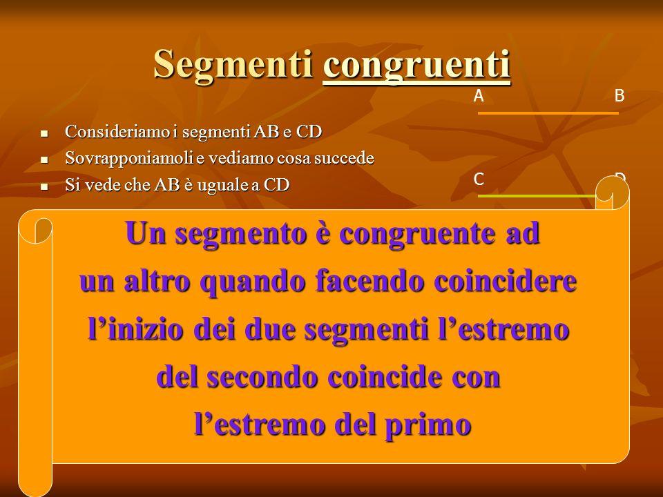 Segmenti c c c c c oooo nnnn gggg rrrr uuuu eeee nnnn tttt iiii Consideriamo i segmenti AB e CD Consideriamo i segmenti AB e CD Sovrapponiamoli e vedi