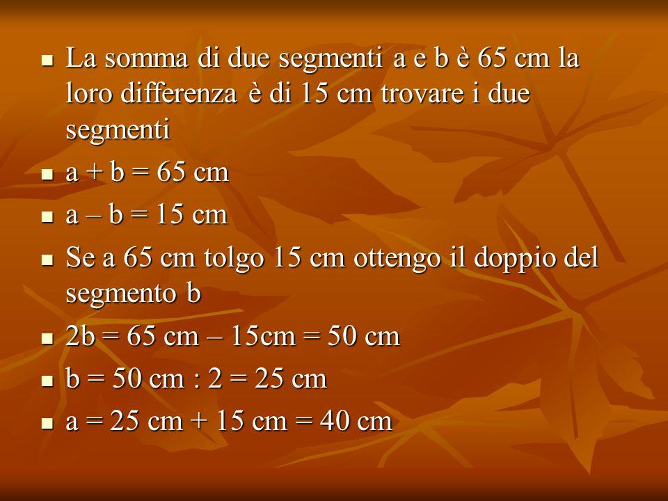 La somma di due segmenti a e b è 65 cm la loro differenza è di 15 cm trovare i due segmenti La somma di due segmenti a e b è 65 cm la loro differenza