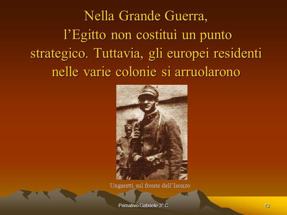 Primativo Gabriele 3° C13 Nella Grande Guerra, lEgitto non costituì un punto strategico. Tuttavia, gli europei residenti nelle varie colonie si arruol