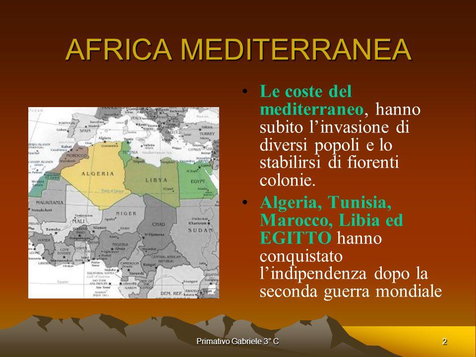 2Primativo Gabriele 3° C AFRICA MEDITERRANEA Le coste del mediterraneo, hanno subito linvasione di diversi popoli e lo stabilirsi di fiorenti colonie.