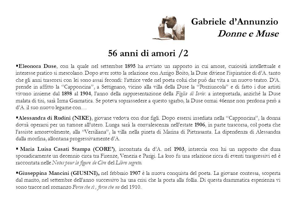 Gabriele dAnnunzio Donne e Muse 56 anni di amori /2 Eleonora Duse, con la quale nel settembre 1895 ha avviato un rapporto in cui amore, curiosità inte