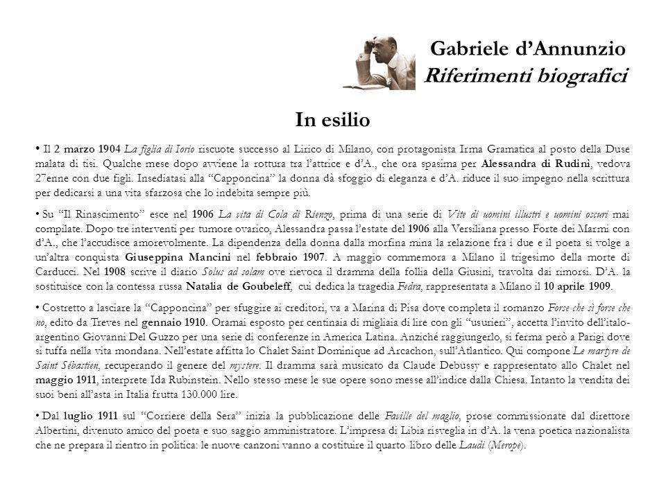 Gabriele dAnnunzio Riferimenti biografici In esilio Il 2 marzo 1904 La figlia di Iorio riscuote successo al Lirico di Milano, con protagonista Irma Gr