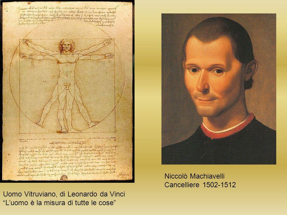 Niccolò Machiavelli Cancelliere 1502-1512 Uomo Vitruviano, di Leonardo da Vinci Luomo è la misura di tutte le cose