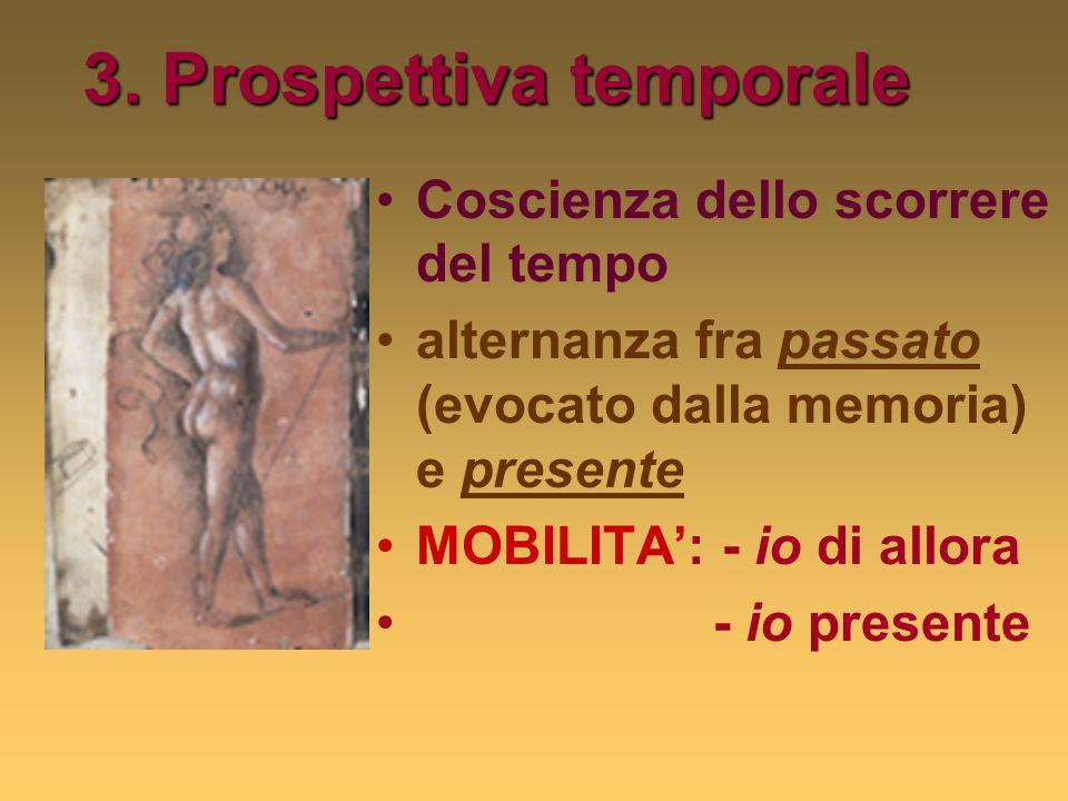3. Prospettiva temporale Coscienza dello scorrere del tempo alternanza fra passato (evocato dalla memoria) e presente MOBILITA: - io di allora - io pr