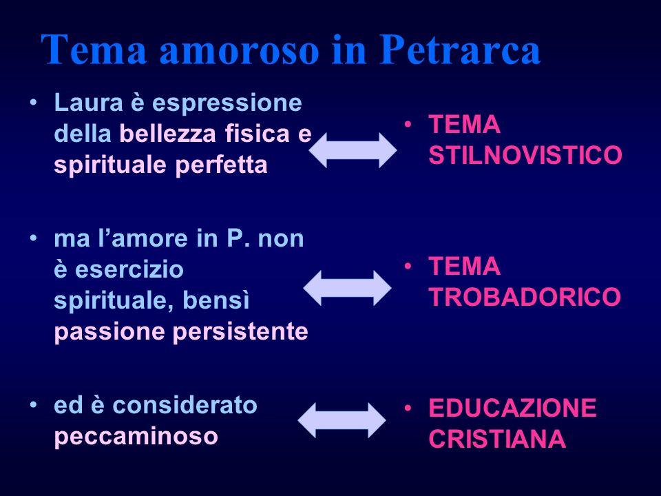 Tema amoroso in Petrarca Laura è espressione della bellezza fisica e spirituale perfetta ma lamore in P. non è esercizio spirituale, bensì passione pe