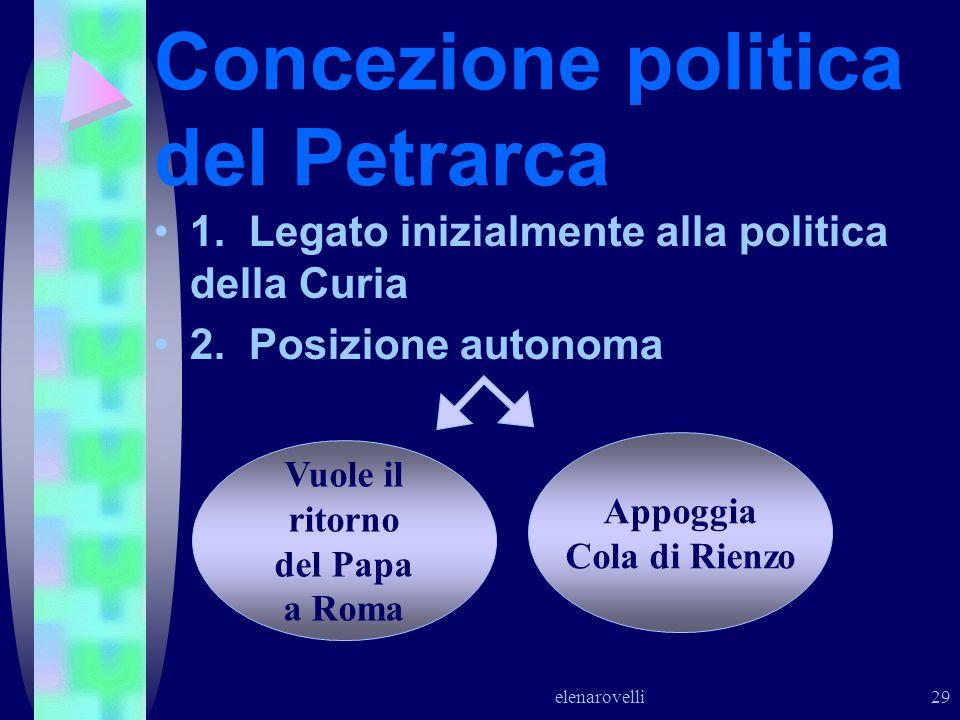 elenarovelli 29 Concezione politica del Petrarca 1. Legato inizialmente alla politica della Curia 2. Posizione autonoma Vuole il ritorno del Papa a Ro