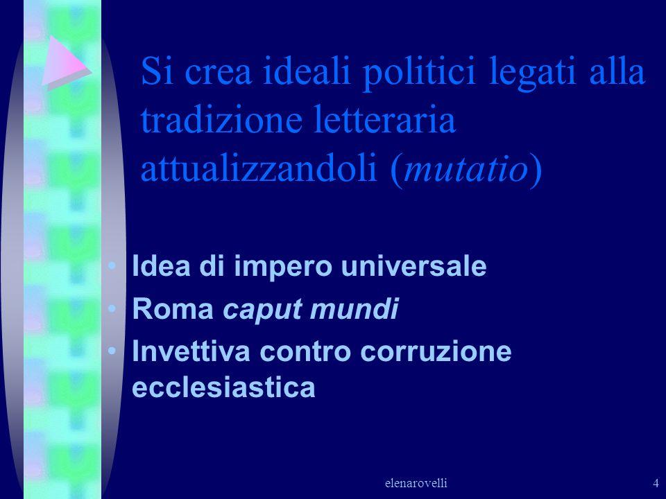 elenarovelli 4 Si crea ideali politici legati alla tradizione letteraria attualizzandoli (mutatio) Idea di impero universale Roma caput mundi Invettiv