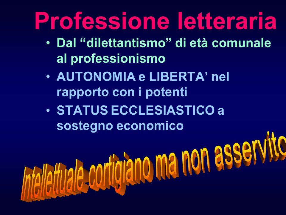 Professione letteraria Dal dilettantismo di età comunale al professionismo AUTONOMIA e LIBERTA nel rapporto con i potenti STATUS ECCLESIASTICO a soste