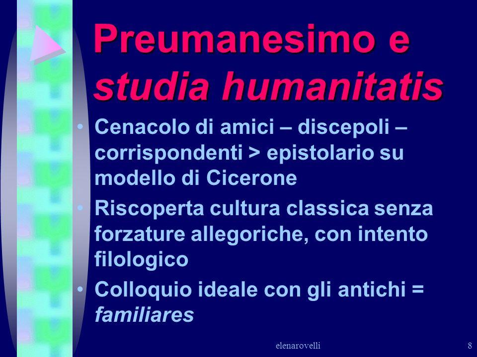 elenarovelli 8 Preumanesimo e studia humanitatis Cenacolo di amici – discepoli – corrispondenti > epistolario su modello di Cicerone Riscoperta cultur