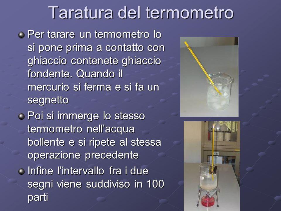 Alla prima tacca assegniamo 0° Allultima 100° Lunità di misura di un termometro costruito in questa maniera prende il nome di grado centigrado Esistono varie scale termometriche, quella meno usata è la scala Réaumur, le altre sono la Fahrenehit e la Kelwin