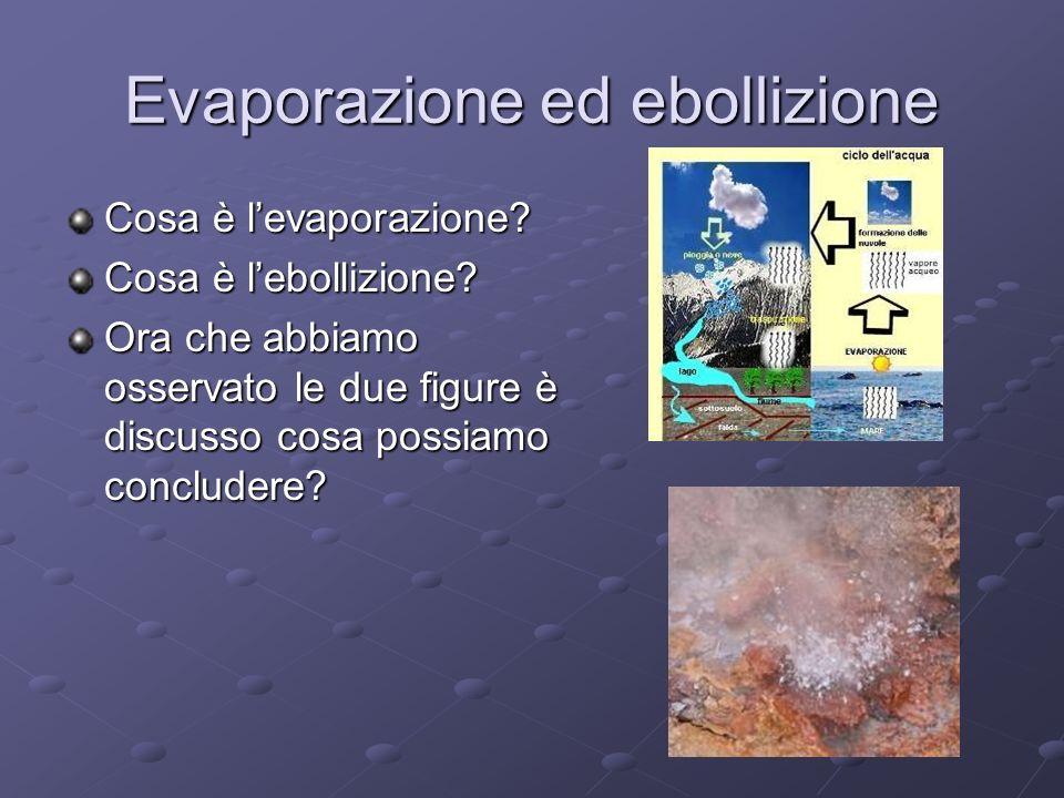 Evaporazione ed ebollizione Cosa è levaporazione? Cosa è lebollizione? Ora che abbiamo osservato le due figure è discusso cosa possiamo concludere?