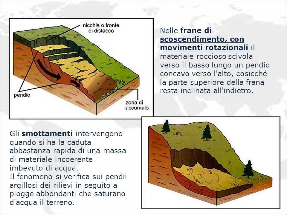 Nelle frane di scoscendimento, con movimenti rotazionali il materiale roccioso scivola verso il basso lungo un pendio concavo verso l'alto, cosicché l