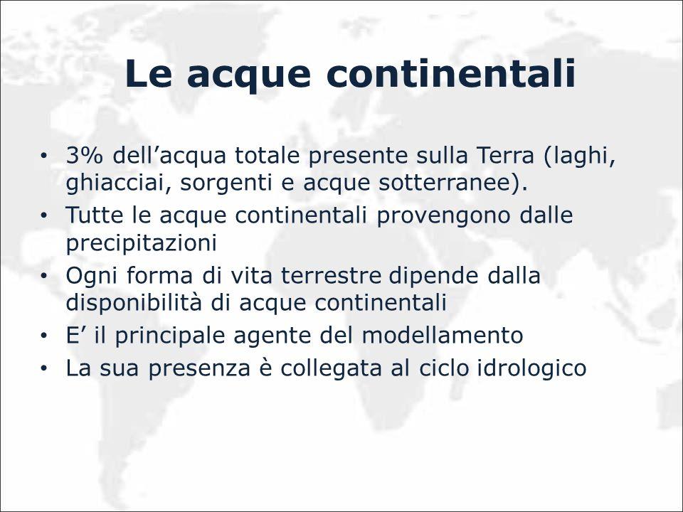 Le acque continentali 3% dellacqua totale presente sulla Terra (laghi, ghiacciai, sorgenti e acque sotterranee). Tutte le acque continentali provengon