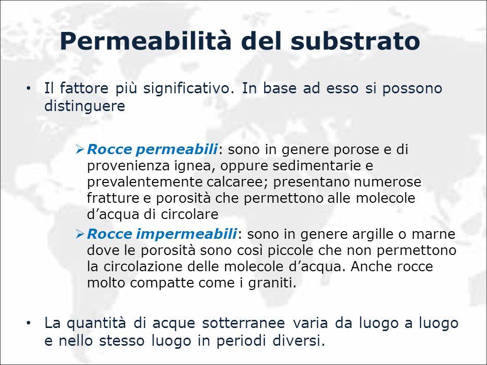 Permeabilità del substrato Il fattore più significativo. In base ad esso si possono distinguere Rocce permeabili: sono in genere porose e di provenien
