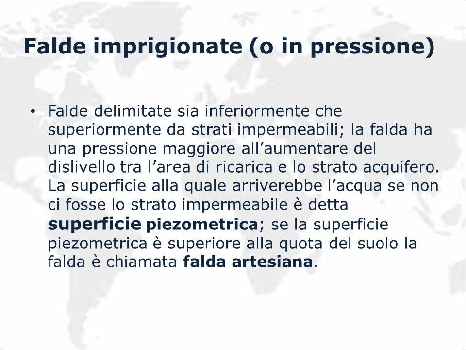 Falde imprigionate (o in pressione) Falde delimitate sia inferiormente che superiormente da strati impermeabili; la falda ha una pressione maggiore al